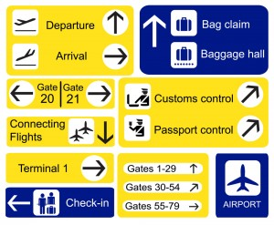 A selection of Airport signs. EPS10 vector format
